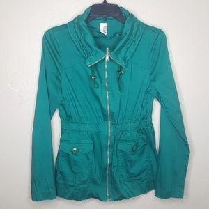 Francesca's Jacket Coat Stretch Utility Army Bird